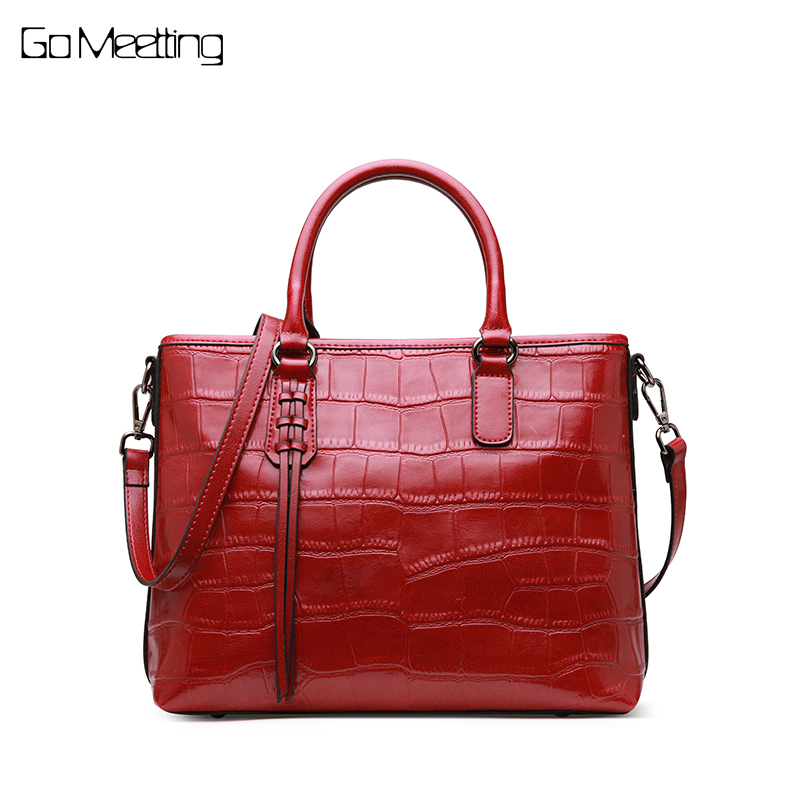 Go Meetting Brand Genuine Leather Women Handbags Fashion Alligator Totes Messenger Bags High Quality Wax oil skin Shoulder Bag