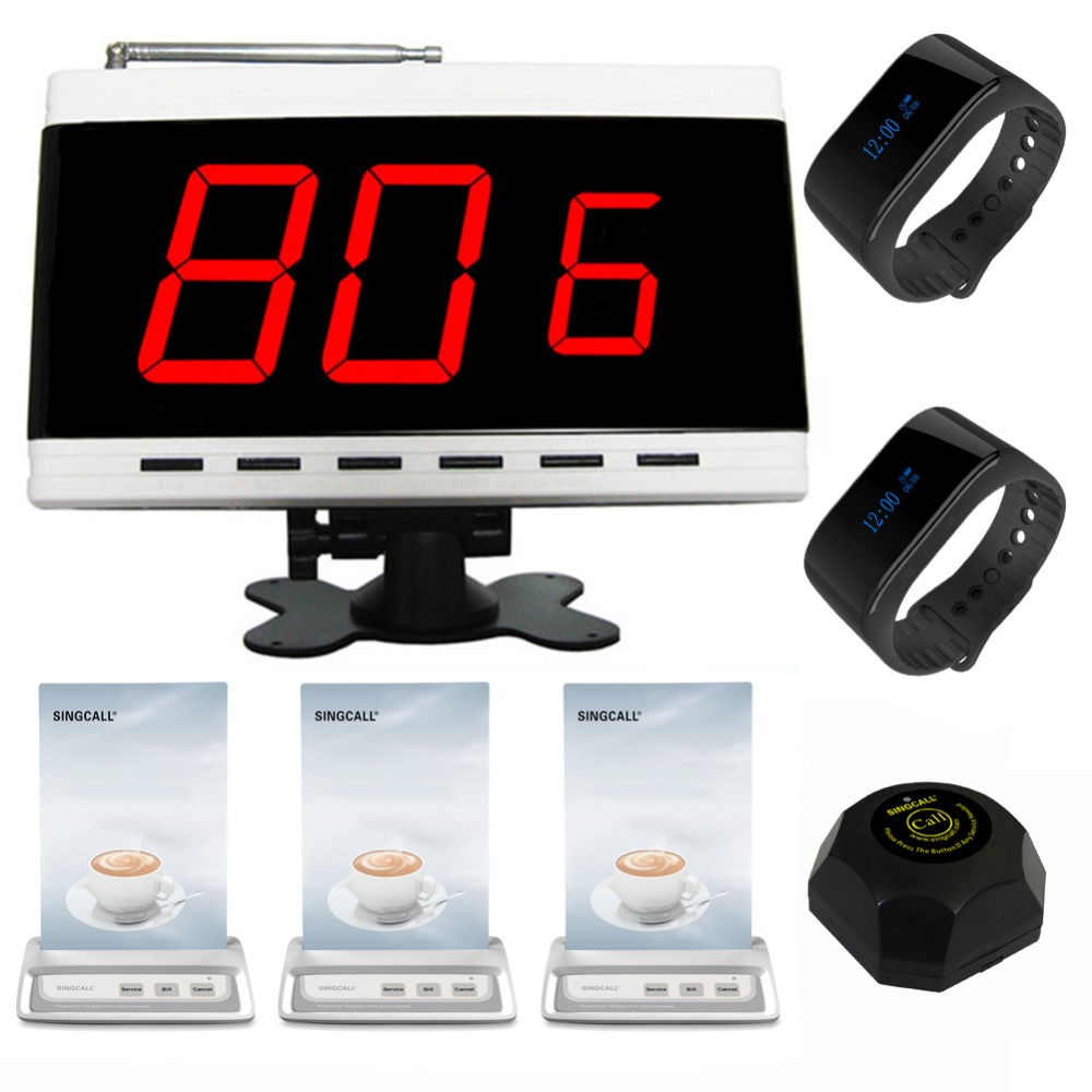 SINGCALL Wireless Calling System,waiter-calling-system 1 fixed receiver 2 bracelet watch pagers 3 table call button 1 pager 5 watches with 50 table button wireless calling system pager system waiter caller system free dhl shipping