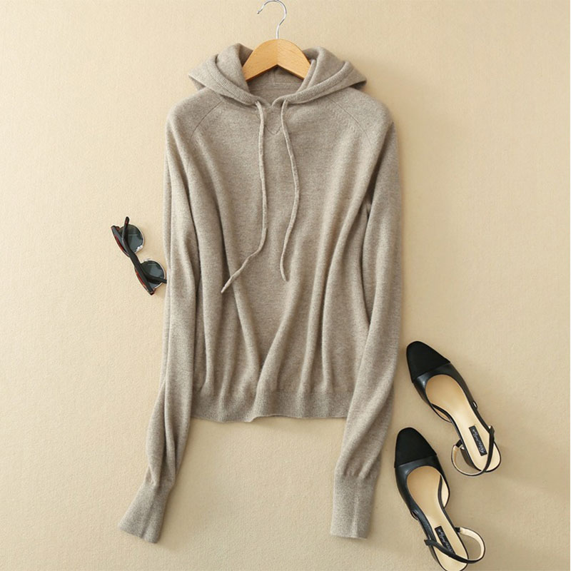 Kashana Cashmere Sweaters Newest Women s Hooded Pullover 100 Pure Cashmere Women Sweater Tops Loose Spring