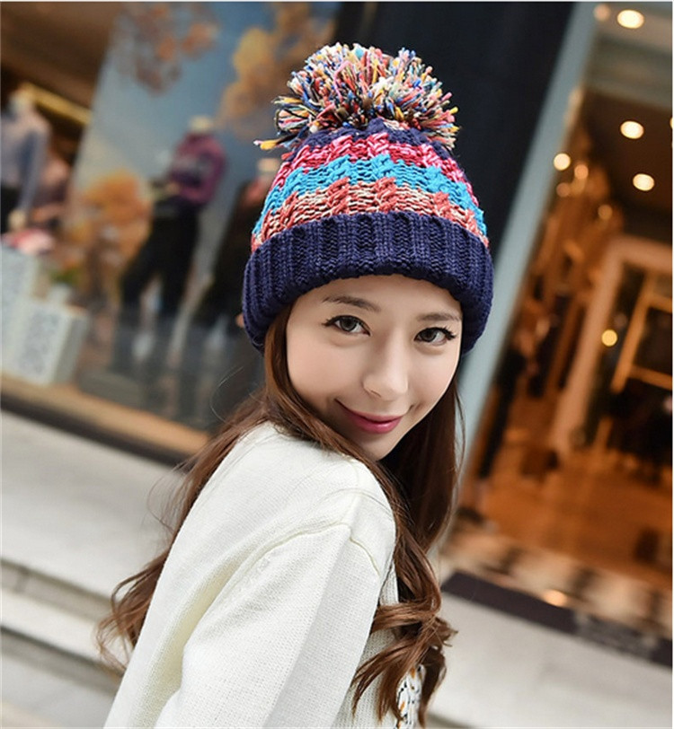 ... Fashion Striped Hats Bonnet Women Beanies And. Caps Large Heads Knitted  Skullies. Color black 12e2f58d2bc8