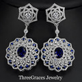 American Women Luxury Cubic Zirconia Paved Created Sapphire Royal Blue Long Dangle Drop Earrings For Evening Party ER234