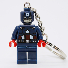 Captain America DIY Customize Minifigures Key Chain Key Ring Super Heroes TMNT SWAT Star Wars Building Blocks Bricks Toys