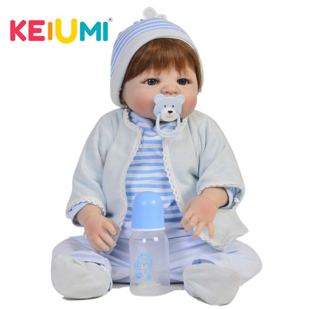 Cute Full Silicone body Reborn Menino 57 cm Doll Toy Lifelike Reborn Baby Dolls 23 Newborn