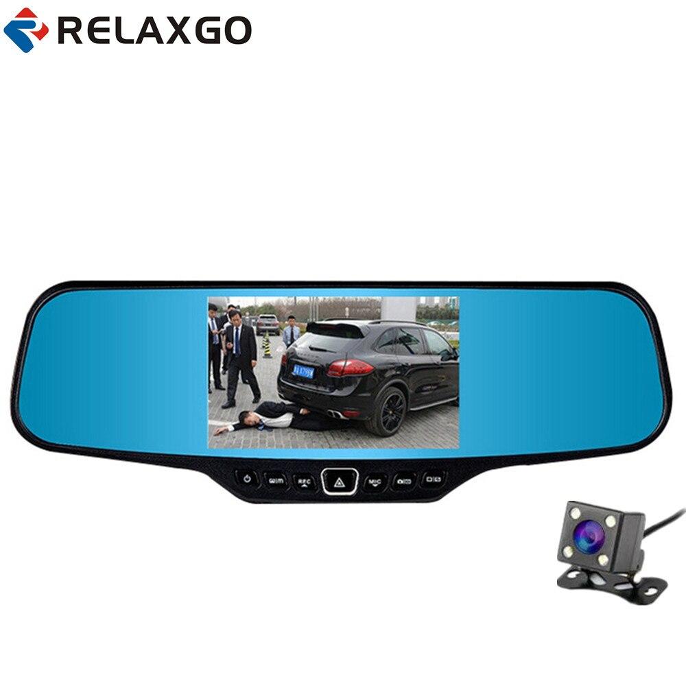 Relaxgo 4.3″ Car DVR Rearview Mirror Video Recorder Full HD 1080P Car Camera Dual Lens Parking Dash Cam Night Vision Black Box