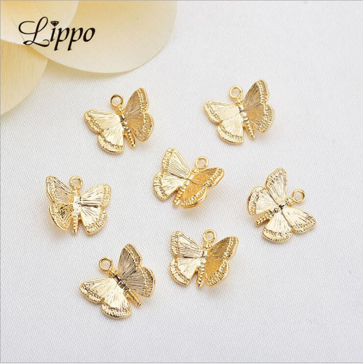 Charms Metal Pendants Gold Butterflies Small Real-Color-Plated Copper 20pcs 10mm 3D High-Quatily title=