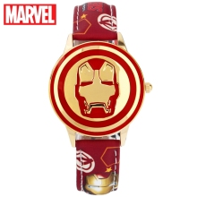 Marvel Avenger Iron Man Stark Red Black Quartz dameshorloge van leer, kind Hero Dream Cartoon Disney Factory Genuine Watch