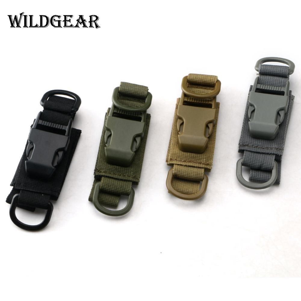 Multifunction Durable EDC Waist Keychain Molle Webbing Backpack Buckle Keychain Airsoft Outdoor Camping Hiking W/Adhesive Strap
