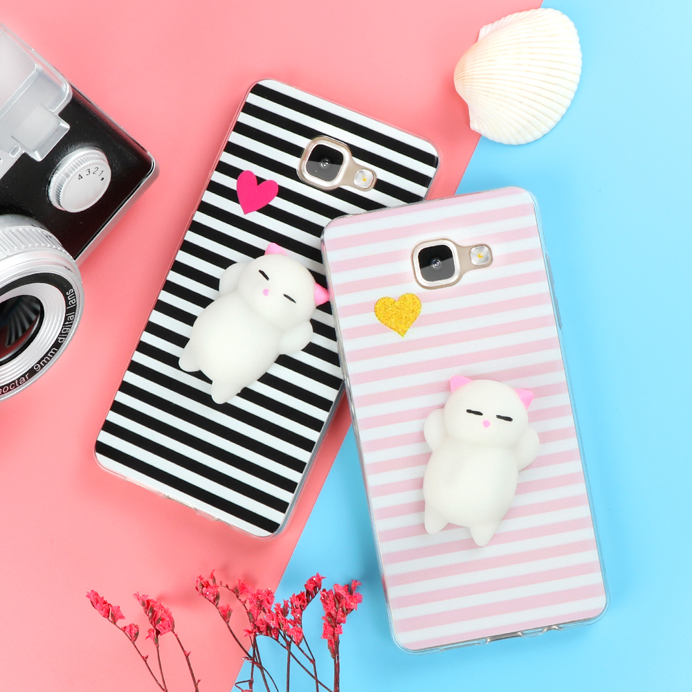 the latest 18d99 2fa77 US $1.58 |Funny Cute Cat Squishy Phone Case for Samsung Galaxy J3 J5 J7 A3  A5 A7 A8 2016 2017 2018 S6 S7 edge S8 S9 Plus Soft TPU Cartoon-in Fitted ...