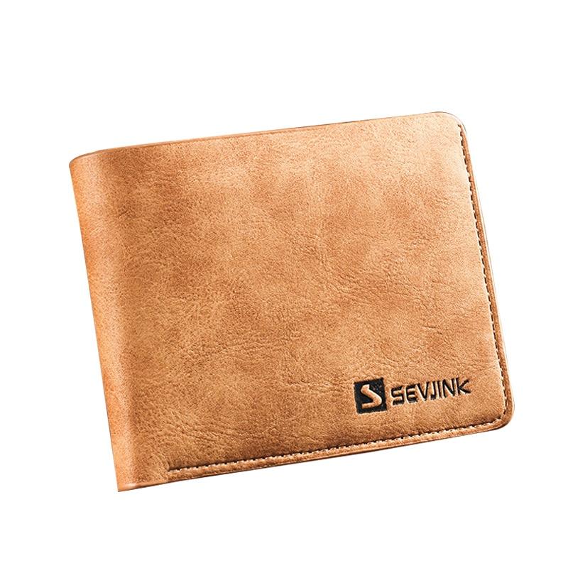 New Men Wallets Famous Brand PU Leather Wallet Men Card Holder With Photo Pocket Short Vintage Design Wallet Purse For Male famous brand new passport card holder