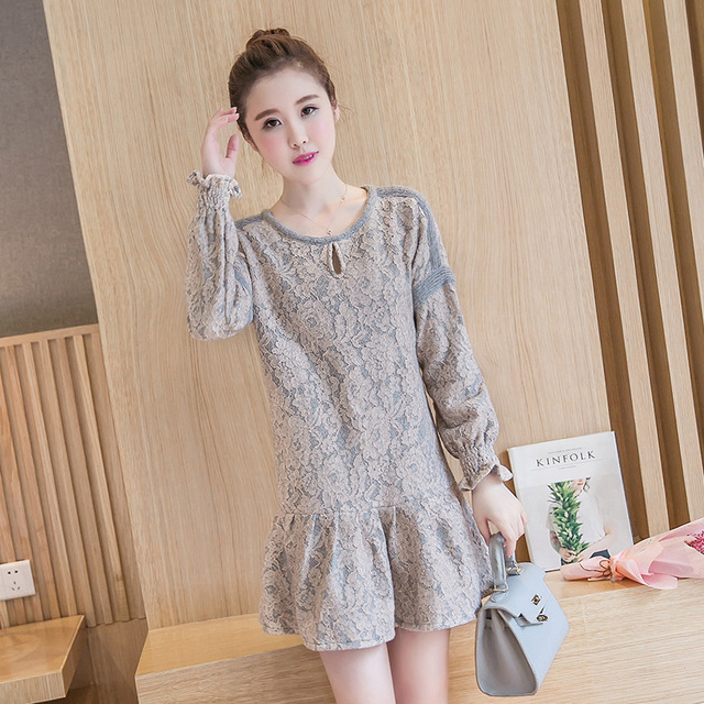 Korean Clothes Design   Ladies Mini Lace Dress Embroidery Clothing For Pregnant Women Cute