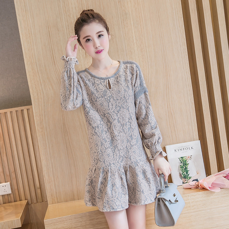 Ladies Mini Lace Dress Embroidery Clothing For Pregnant Women Cute Korean Clothes Lotus  ...