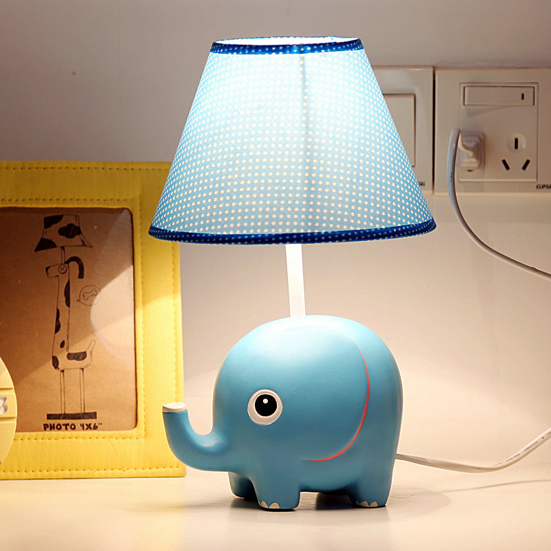Promotion Low Price Resin Kid Sleeping Reading Study Table Lamp Of Linen Shade For Kid's Room Decoration 32x18cm Blue Desk Lamp days of reading
