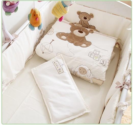 Promotion! 7PCS Embroidery Baby bedding set 100% cotton bumper set winter bedclothes ,(bumpers+duvet+sheet+pillow)