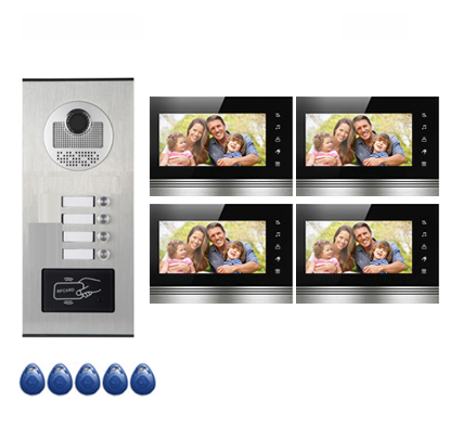 Top Quality Home Security Intercom System Doorbell For 4-apartments w/t 7Video Door Phone Monitors ID card Unlocking
