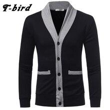 T-bird Sweater Men 2018 Brand V-Neck Button Sweater Coat Cardigan Male Solid Color Slim Mens Cardigan Sweater Man Cardigan Men