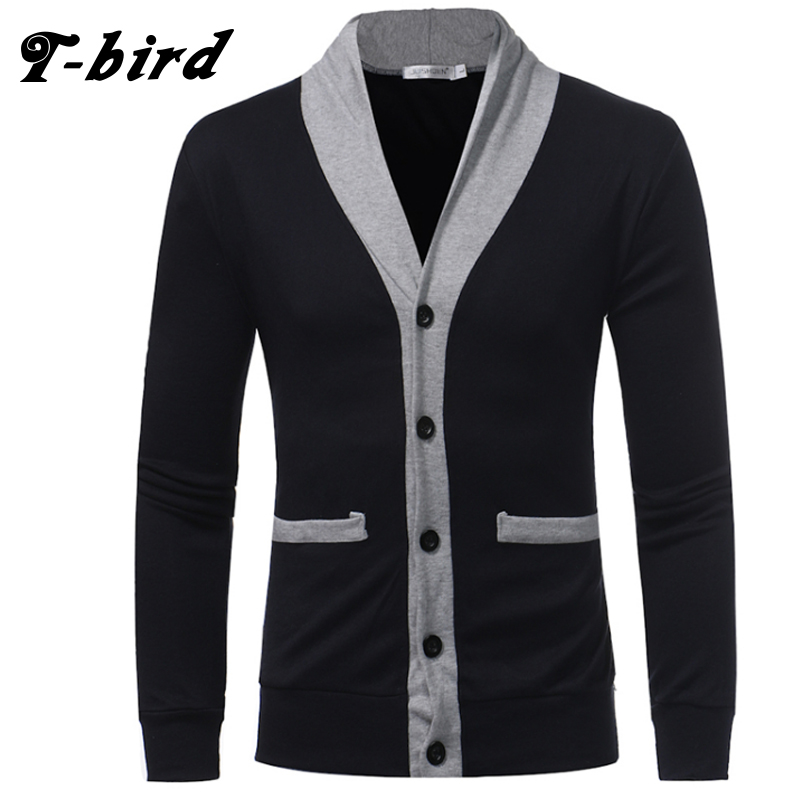 T-bird Sweater Men 2018 Brand V-Neck Button Sweater Coat Cardigan Male Solid Color Slim Mens Cardigan Sweater Man Cardigan Men ...