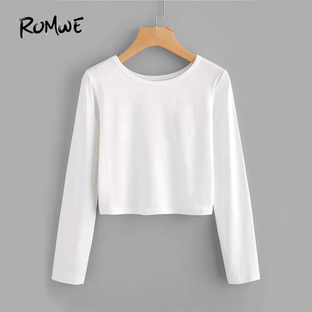 7d8b705bca2 ROMWE White Brief Basic T-shirt Casual Sexy Crop Top Women Long Sleeve  Autumn Tops Fashion O Neck Plus Size Solid T-shirt