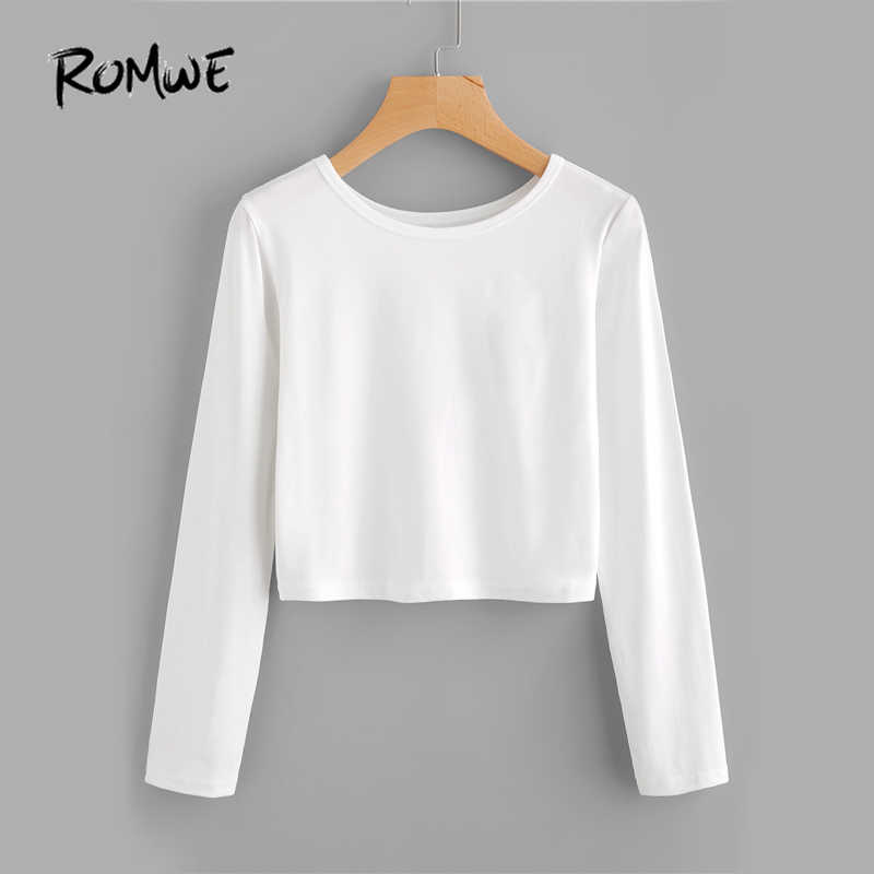 51de314c ROMWE White Brief Basic T-shirt Casual Sexy Crop Top Women Long Sleeve  Autumn Tops
