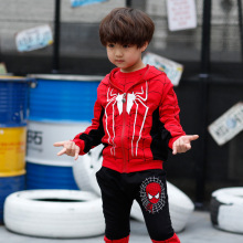 Kids garments clothes units Long sleeve leisure go well with Children's spider-man garments Coat vest + Long sleeve T-shirt+Pants P033