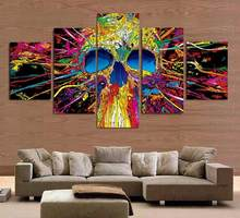Framed 5 Panels Colorful skull head Canvas Print Painting Modern Canvas Wall Art for Wall Pcture Home Decor Artwork(China)