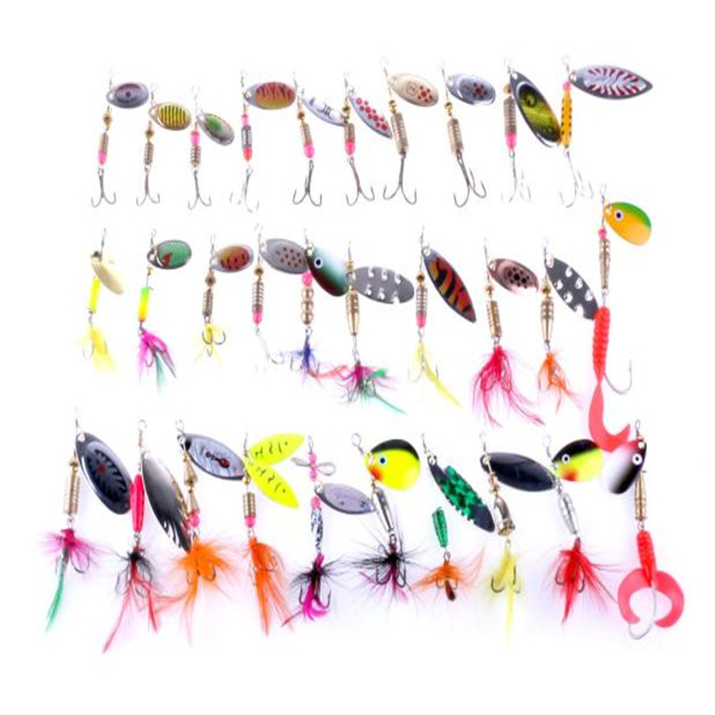 Lot 30pcs Kinds of Fishing Lures Crankbaits Hooks Spinner Baits Spoons Assorted Tackle Fish Fishing Accessories Wholesale 100pcs lot kinds of fishing lures hooks fish hooks tackle minnow bass baits tackle box