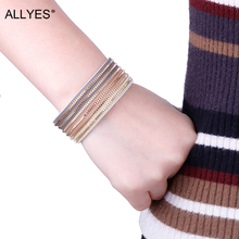 Фотография ALLYES Trendy Multilayer Multicolor Wide PU Leather Crystal Magnetic Clasp Wrap Bracelets For Women Streetwear Bangles Jewelry