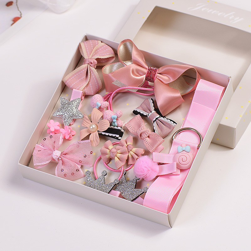 LOEEL 17Pcs/Lot Fashion Children's Headwear Set Gift Boxed Princess Girls Hairband Flower Bow Crown Hairpin Set Hair Accessories 5 6pcs lot headwear set children accessories ribbon bow hair clip hairpin rabbit ears for girls princess star headdress t2
