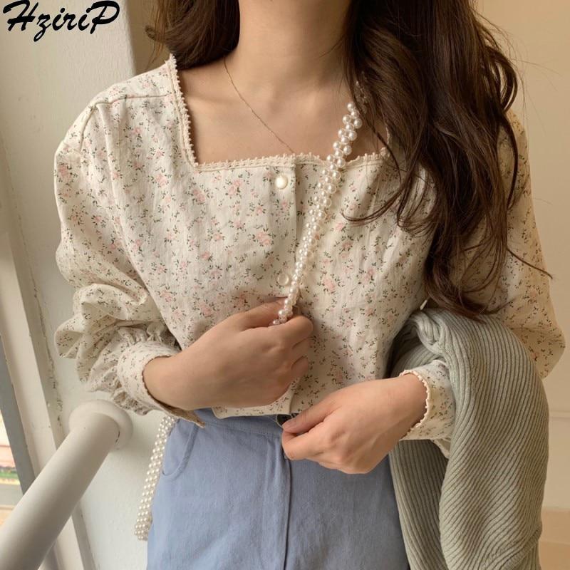 Hzirip Korean Women Blouses 2020 Spring Summer Sweet Fashion Square Collar Casual Print Shirt Long Sleeve Women Tops Shirts