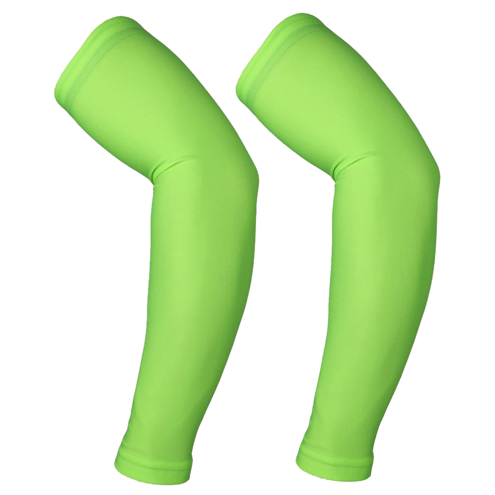 ARSUXEO 2 pcs UV protection arm cuff cycling sun bike for outdoor games Green L