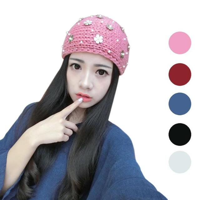 65cd74e122f Women hats Knitting Wool girl Winter Warm Hat esquiing Cap Knitted Empty  Skull Beanie caps hair accessories bows 44 11cm