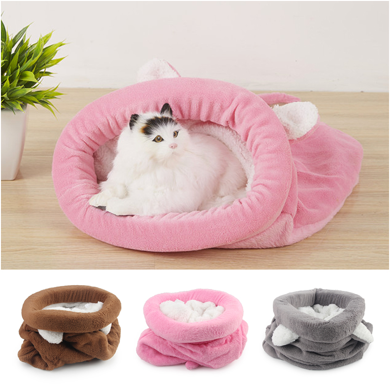 Cute Cat Sleeping Bag Winter Warm Cat Bed Small Dog House For Small Animals Soft Rabbit Nest Cushion Pet Sleep Bag #1
