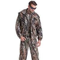 Для мужчин зимние Водонепроницаемый Маскировочные костюмы Охота камуфляж Костюмы Военная Униформа с флис обучение одежда