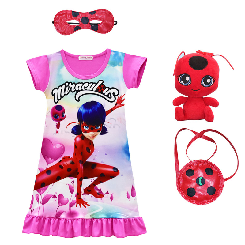 New summer Miraculous Ladybug Dress for Girls Summer Evening Party Clothing Lady Bug Cartoon Clothes Kids Dress+mask+bag+toy купить в Москве 2019