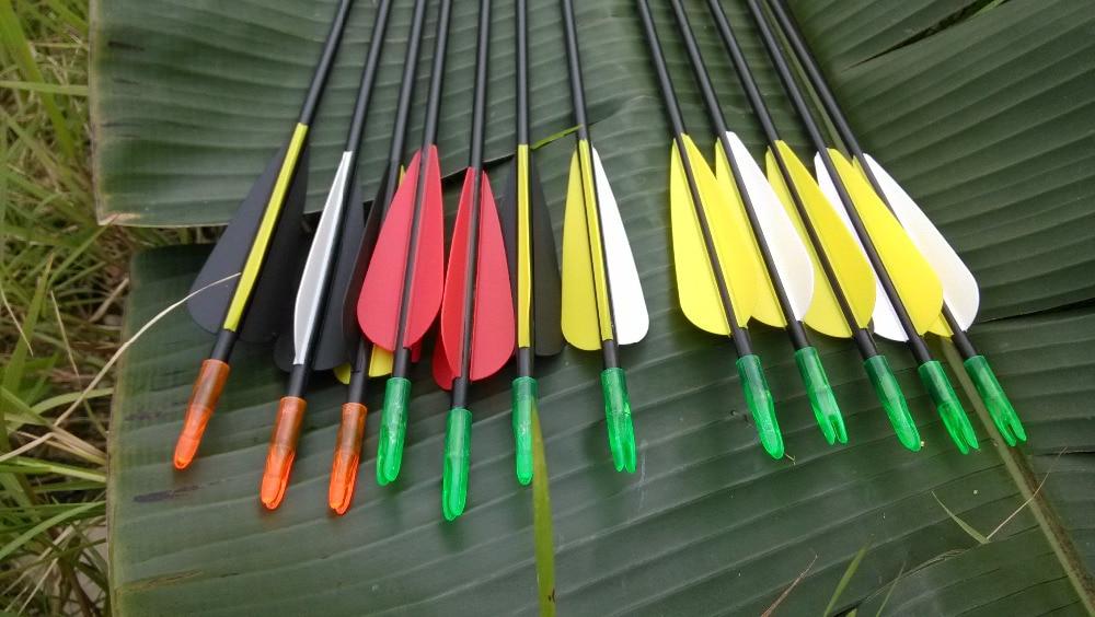 12Pcs Fiberglass Arrow 30/'/' Archery Hunting Nock SP700 Archery Steel Point