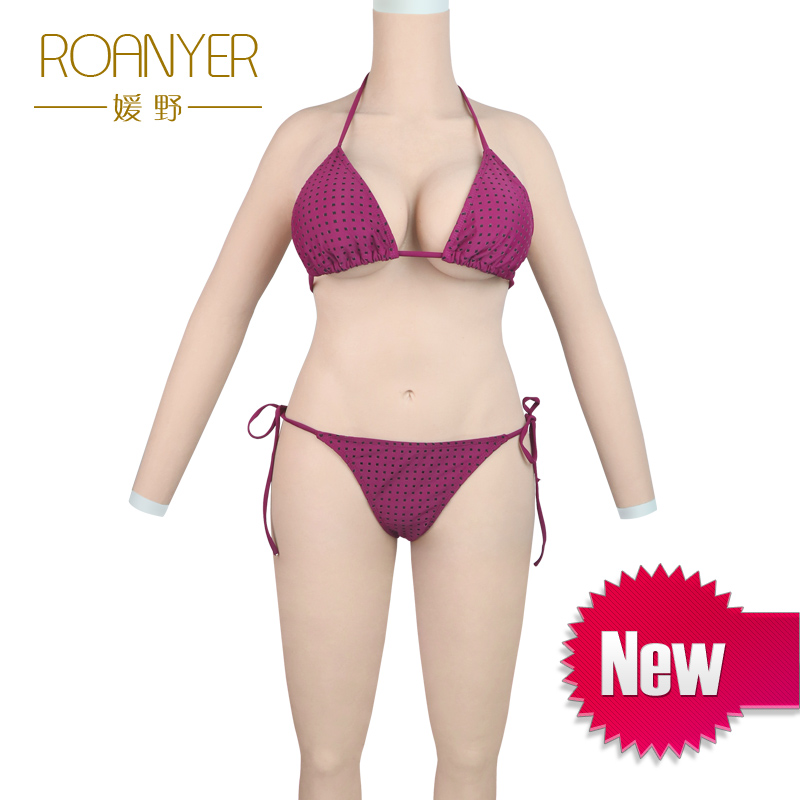 Roanyer transgender silicone breast forms shemale whole body suits with arms fake boobs for crossdressing