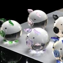Многоцветная кристальная Статуэтка свинки, коллекционная Статуэтка мини-животного, семейное украшение, стеклянная свинья, Домашний Настольный Декор для подарка M40