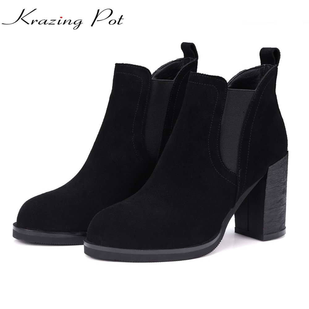 Krazing Pot 2018 cow suede high heels streetwear solid pointed toe slip on super high heels high street fashion ankle boots L89 krazing pot empty after shallow shoes woman lace work flats pointed toe slip on sheep suede causal summer outside slippers l16