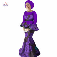 2019 spring Skirt Set African Designed Traditional Print Clothing Plus Size Skirt Set Evening dress with Free Head Scarf WY2251