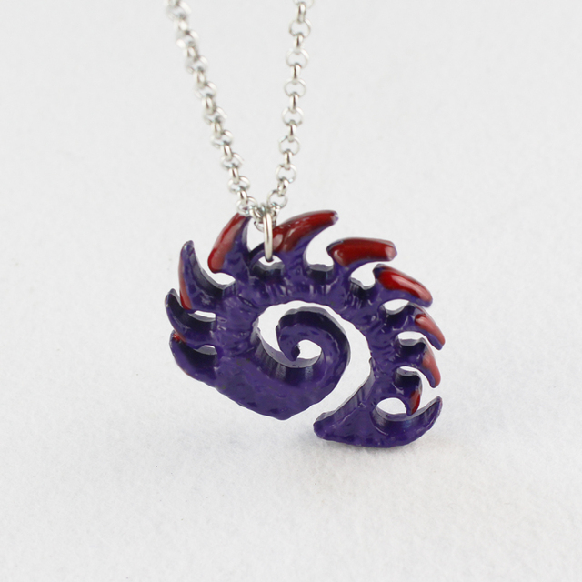 Starcraft necklace Zerg medallion Handmade epic pendant logo Sarah Kerrigan purple coated necklace good quality best gift 2