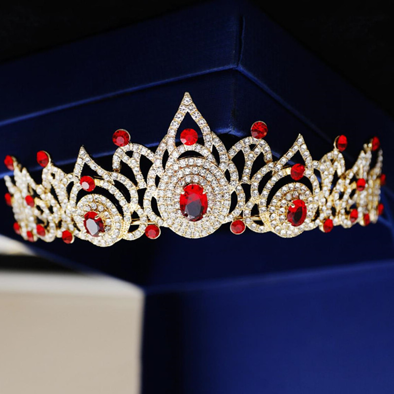 Stunning Red Crystal Rhinestone Quinceanera Crowns Tiaras Wedding Hair Jewelry Gold Page ...