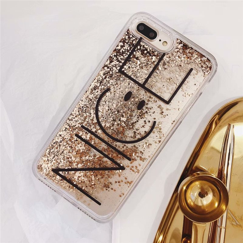 Cute Glitter Dynamic Liquid Quicksand Case for iPhone X 6 6S 7 8 Plus Nice Smile Bling Gold Foil Case For iPhone Xs Max XR Cover in Fitted Cases from Cellphones Telecommunications