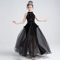 Роскошное черное платье принцессы платье для причастия с лямкой и бисером бальное фатиновое детское нарядное платье платья для девочек на