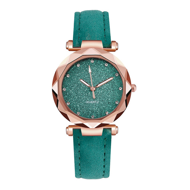 Ladies Minimalist fashion Casual Romantic Starry Sky Wrist Watch Leather Rhinestone Ladies Strap Watch Souvenir Birthday Gifts 4