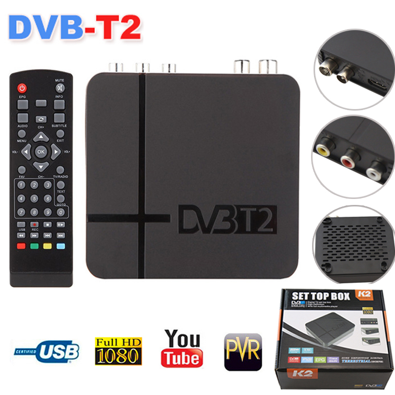 DVB-T2 Satellite receiver TV Tuner Digital HD 1080P MPEG-2/4 NTSCW/ RCA / HDMI PAL/NTSC PVR Mini Set Top Box hot sale Russian 32 waterproof mirror tv for bathroom analogue tuner ntsc pal secam avs320fs integrated speakers free shipping