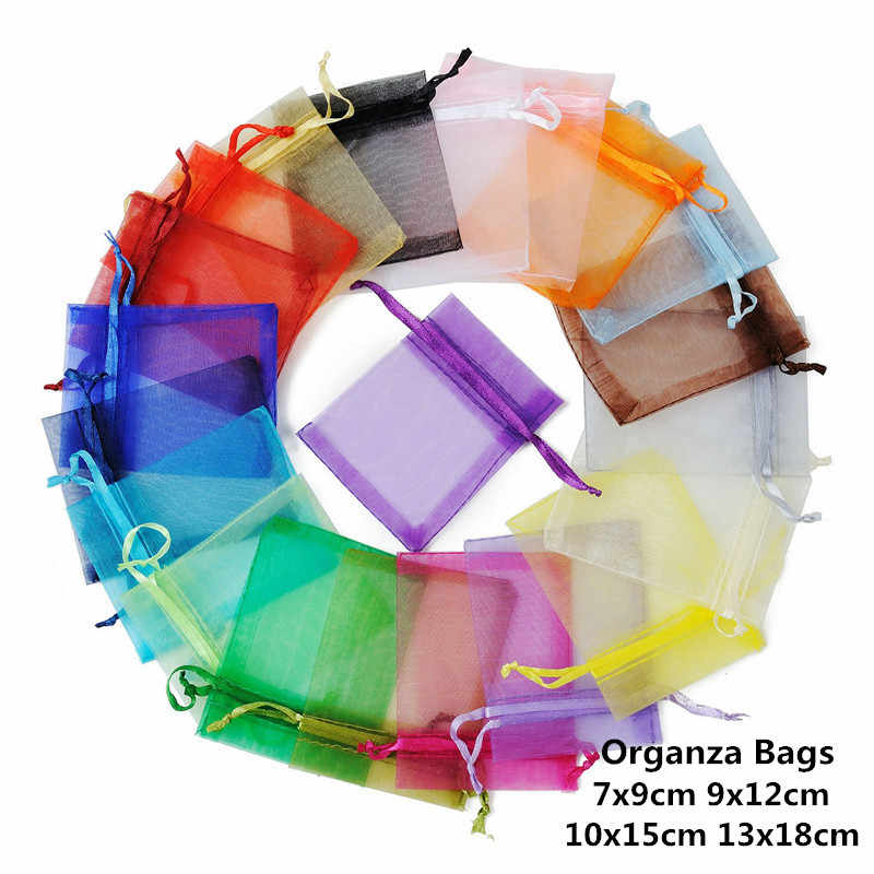 10pcs 7x9 9x12cm 10x15 13x18cm Organza Gift Bags Wedding Decoration For Birthday Party Favors Small Candy Present Packaging Bags