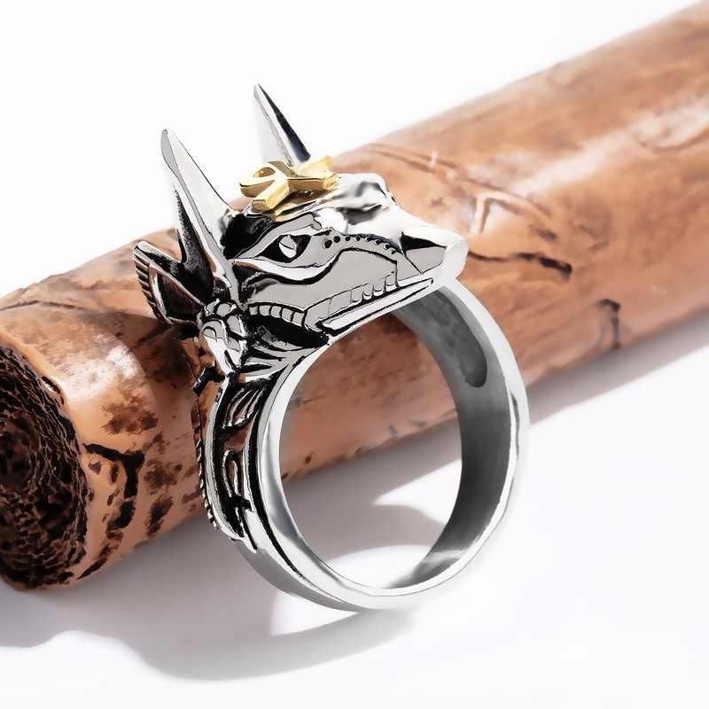 Anel de lobo do punk hnsp para homem masculino biker aço inoxidável animal jóias anel anel de 7-14 tamanho grande