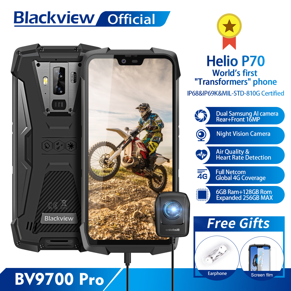 Blackview BV9700 Pro IP68 Rugged Mobile Phone Helio P70 Octa Core 6GB+128GB Android 9.0 16MP+8MP Night Vision Camera Smartphone plywood