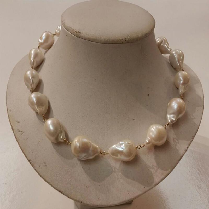 18 pouces fil d'or rempli AA + 15-20mm collier de perles Baroque blanc naturel avec fermoir à bascule