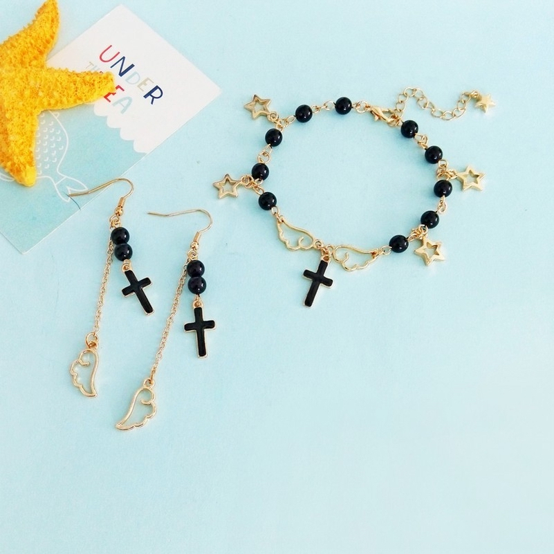 Charm Bracelet Pearls Black Simulated Cross Gold-Color Fashion for Girls Stars-Wing Japanese-Style