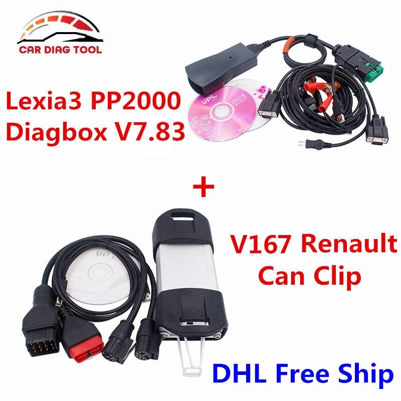Prix pour Nouvellement Pour Renault Peut Clip V167 + Lexia3 PP2000 Diagbox V7.83 Lexia 3 Lexia-3 V48 PP2000 V25 OBD2 Outil De Diagnostic DHL Livraison le bateau